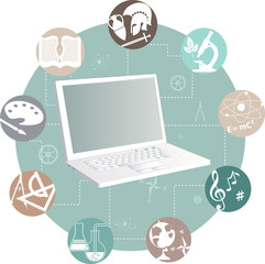 Online learning. Laptop and study subjects