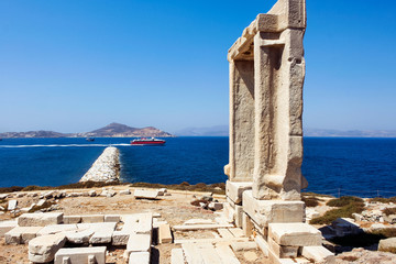 Portara ancient temple door in Naxos Greece