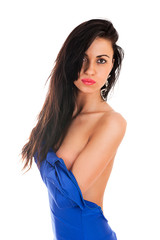 beautiful sexy woman in a blue dress