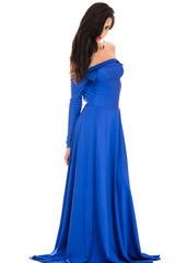 fashionable sexy woman in blue dress full length