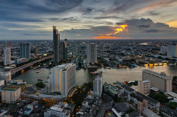 Bangkok cityscape and Chaophraya River