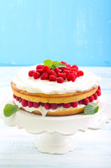 Lemon cake with raspberry,