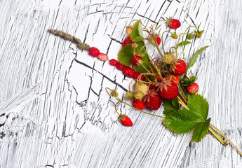 The bouquet of wild strawberry over crackle white