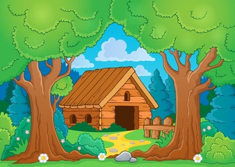 Tree theme with wooden building