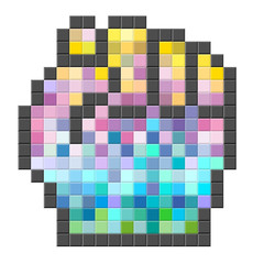 Colorful pixelated computer cursor