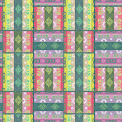 Patchwork seamless pattern floral ornamental