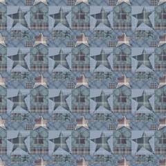 Seamless checkered kids patchwork stars pattern background