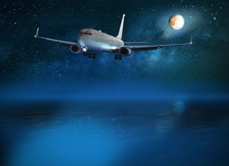 Passagierflugzeug bei der Nachlandung über Wasser