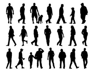 big set of men walking silhouettes