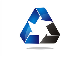 Recycle symbol or sign of conservation blue icon isolated on