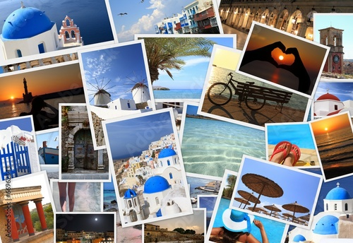canvas print picture Collection of Greek islands photos