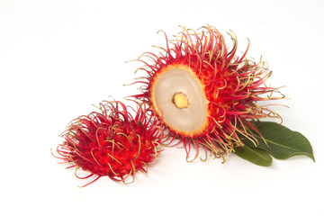asian fruit , Fresh rambutan with leaf