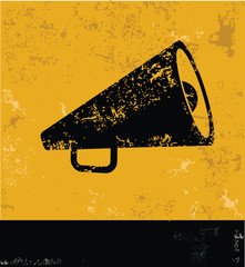 Megaphone symbol,grunge vector