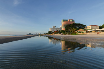 Beach with reflection at Huahin