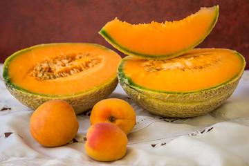Melon and apricots still life