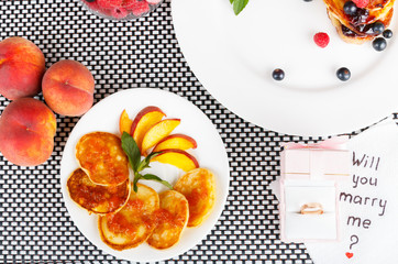 pancakes and peaches