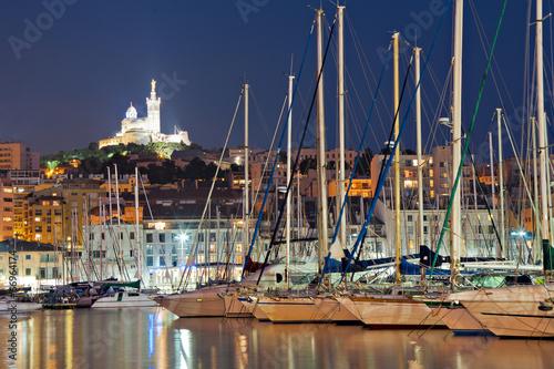 Fotobehang Marokko Marseille, France, Vieux Port, Notre Dame de la Garde