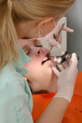 Dental procedure, dentist  giving anesthetic injection