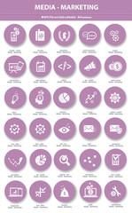 Media & Marketing icons,Violet version