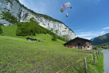 Para glider fly over Lauterbrunnen valley, Switzerland