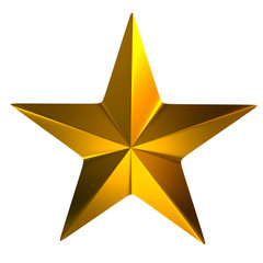 Gold star isolated on white background