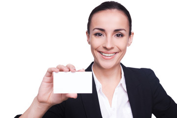 Woman with business card.