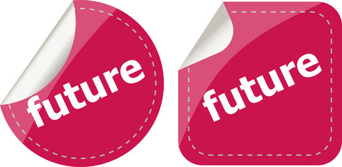 future stickers set on white, icon button isolated on white