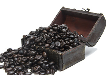 coffee beans in small chest