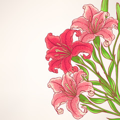 card with pink lilies