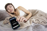 female snoozing modern cell phone alarm clock poster