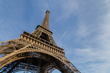 Eiffel Tower with blue sky. France, Europe.