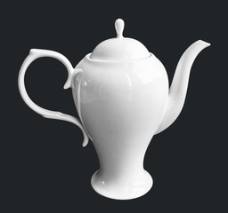 white Ceramic Teapot isolate black background