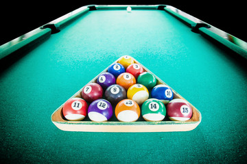 focus colour ball in rest on the pool table for start a game