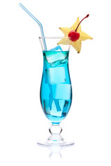 Blue cocktail with carambola