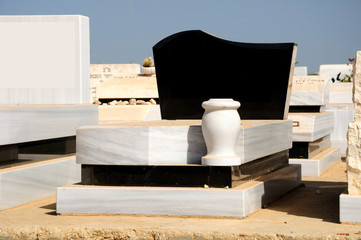 Marble gravestone at jewish cemetery in the central Israel.