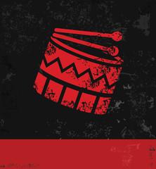 Drum symbol,grunge vector