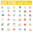 SEO & Internet Marketing icons on white background,vector