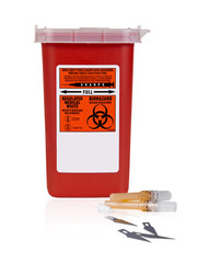 Small Sharps Container With Sharp Waste