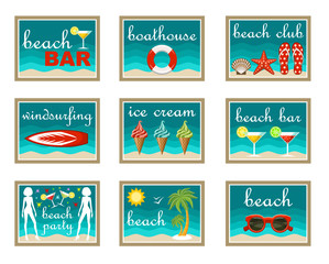 Set of beach map pointers