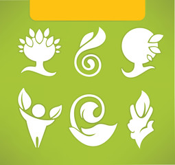 ecological symbols and signs, in flat style