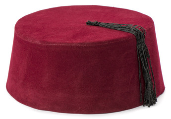 Traditional Turkish hat called fez isolated on white