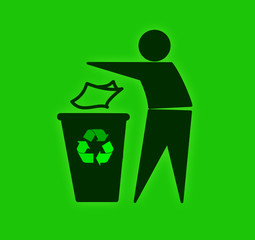 Throwing waste in recycling bin on green