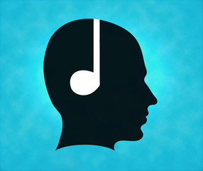 Profile of silhouette with headphone symbol