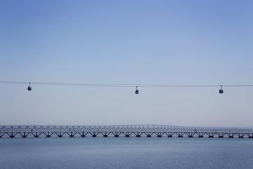 pont vasco de gamma et télécabine (Lisbonne) ,