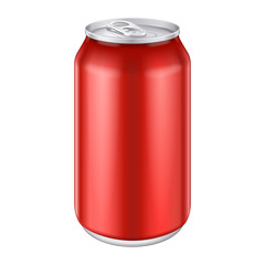 Red Metal Aluminum Beverage Drink Can 500ml.