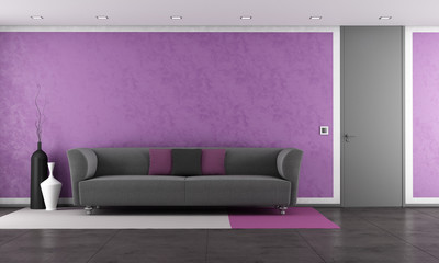 Purple lounge with modern couch