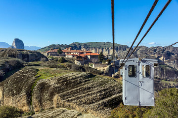 Cable car on cableway to monastery, Meteora, Greece