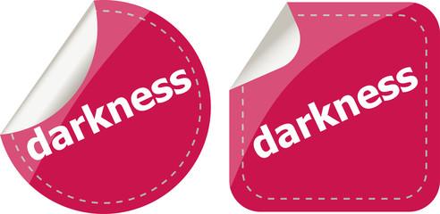 darkness word stickers web button set, label, icon