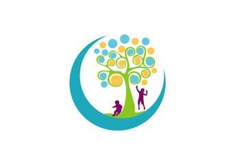 kid tree and moon abstract vector illustration
