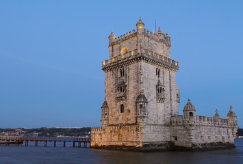 Famous Belem Tower at dusk